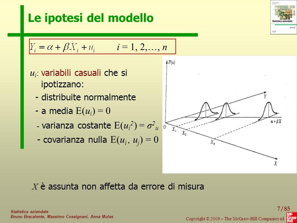 Le ipotesi del modello i = 1, 2,…, n ui: variabili casuali che si