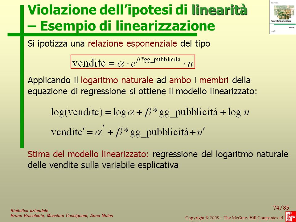 Violazione dell'ipotesi di linearità – Esempio di linearizzazione