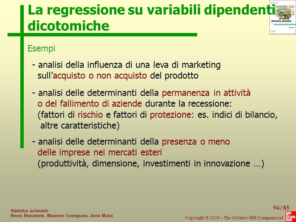 La regressione su variabili dipendenti dicotomiche