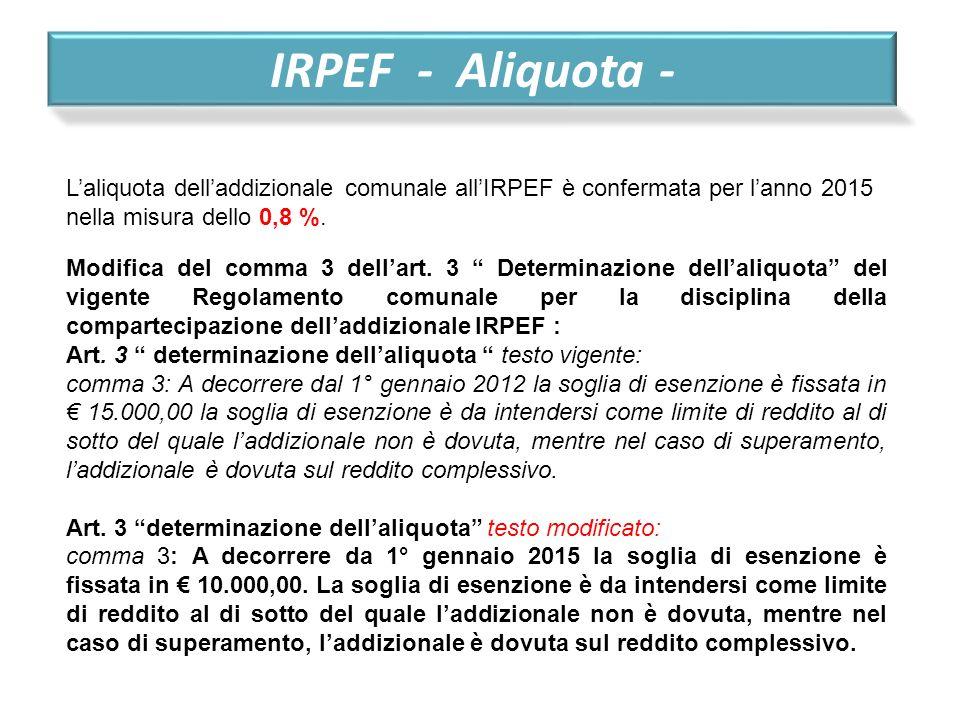 IRPEF - Aliquota - L'aliquota dell'addizionale comunale all'IRPEF è confermata per l'anno 2015 nella misura dello 0,8 %.