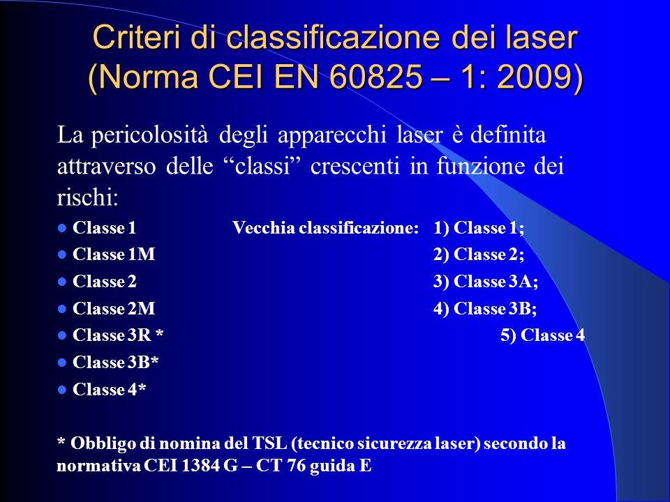 Criteri di classificazione dei laser (Norma CEI EN 60825 – 1: 2009)
