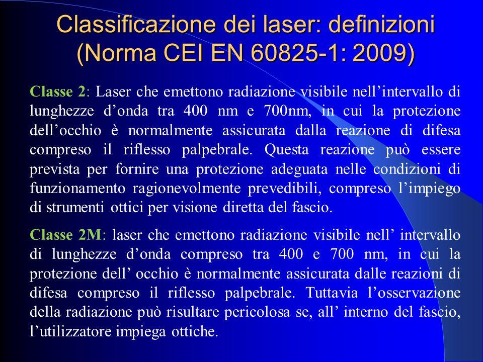 Classificazione dei laser: definizioni