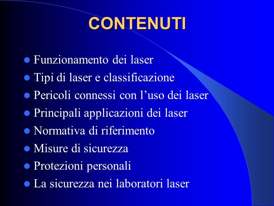 CONTENUTI Funzionamento dei laser Tipi di laser e classificazione