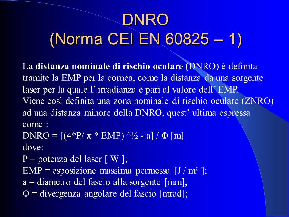 DNRO (Norma CEI EN 60825 – 1)