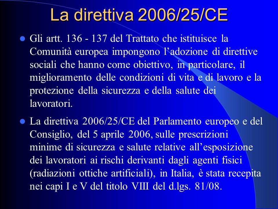 La direttiva 2006/25/CE