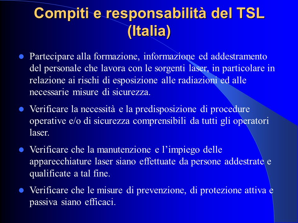 Compiti e responsabilità del TSL (Italia)
