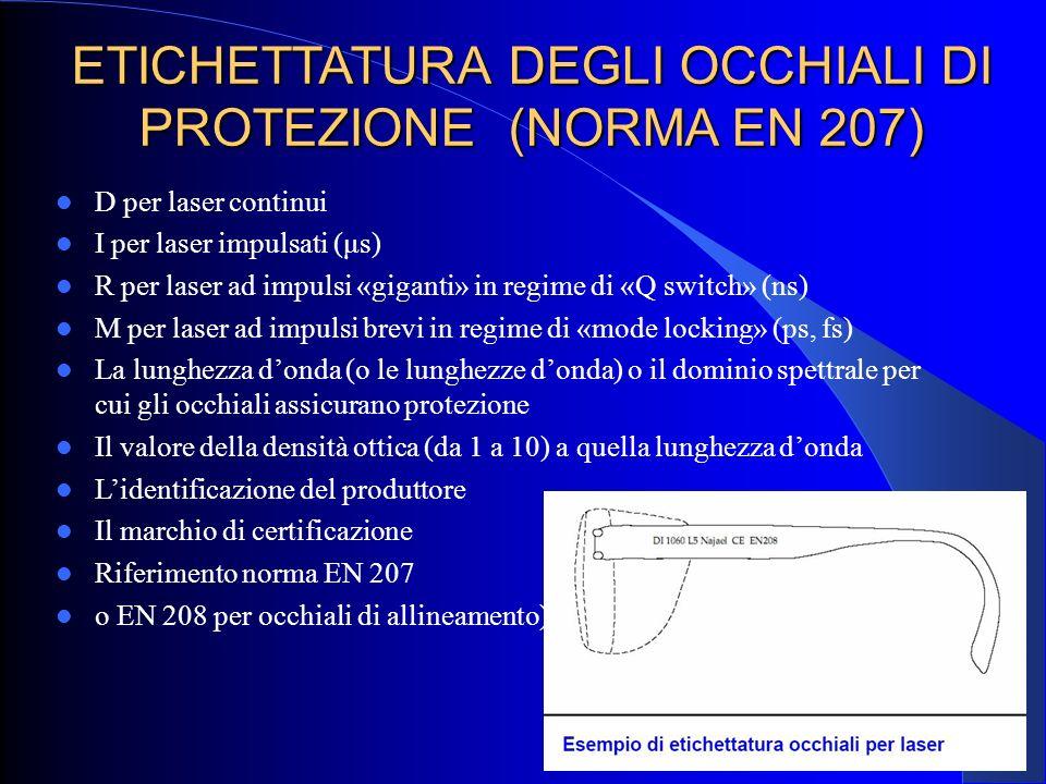 ETICHETTATURA DEGLI OCCHIALI DI PROTEZIONE (NORMA EN 207)