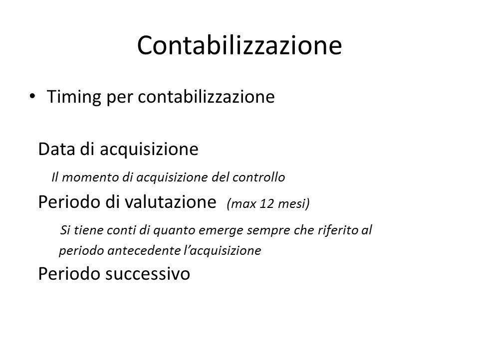 Contabilizzazione Timing per contabilizzazione Data di acquisizione