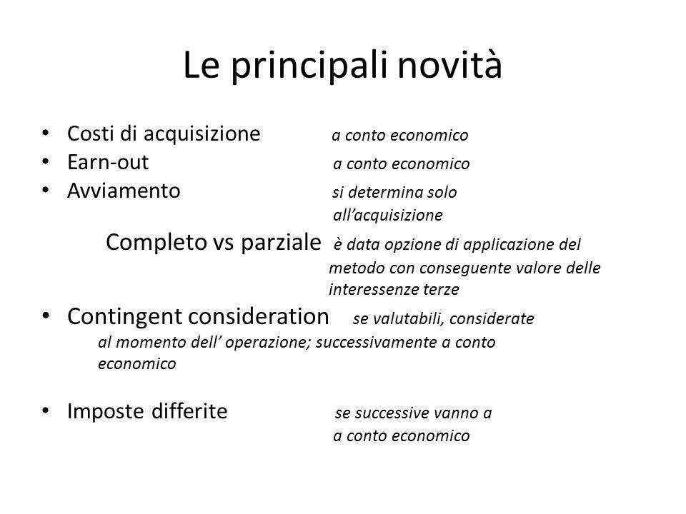 Le principali novità Costi di acquisizione a conto economico. Earn-out a conto economico.