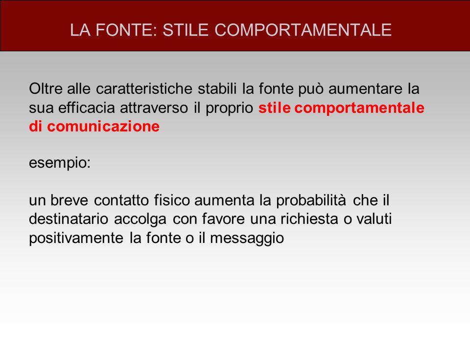 LA FONTE: STILE COMPORTAMENTALE