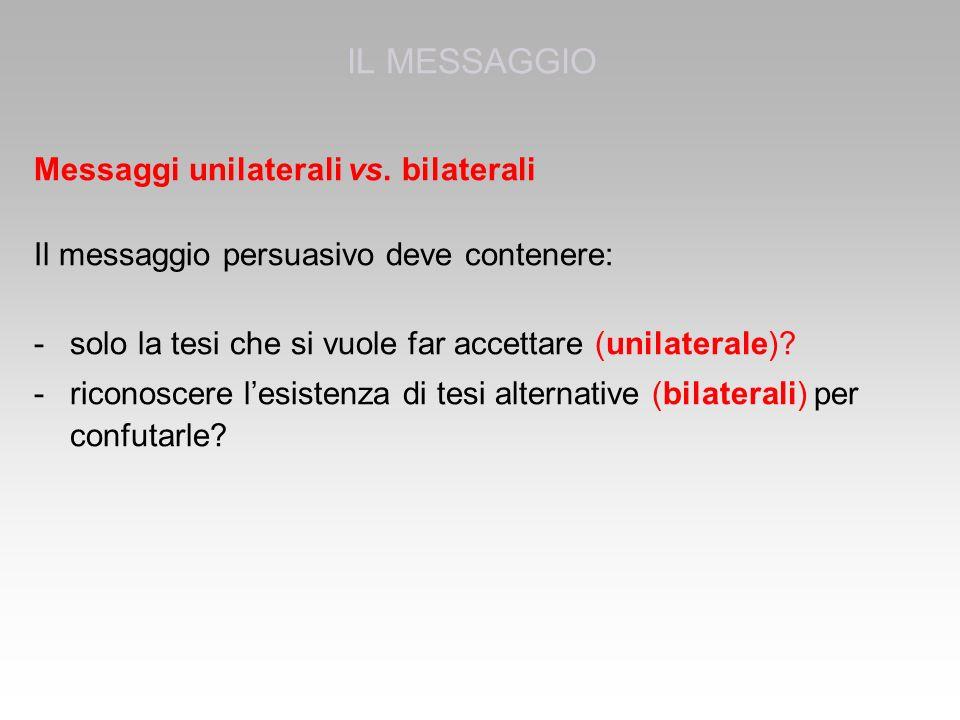 IL MESSAGGIO Messaggi unilaterali vs. bilaterali