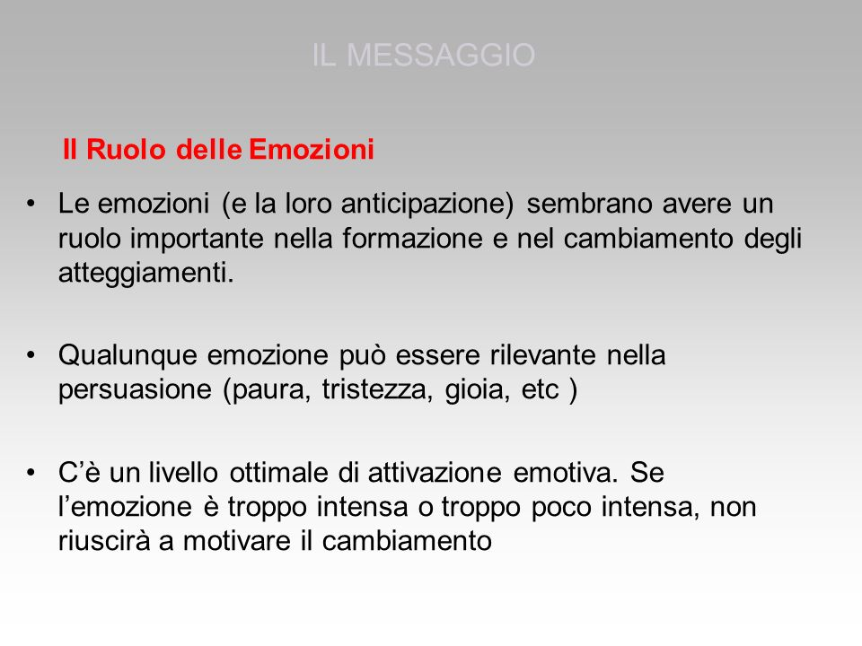 IL MESSAGGIO Il Ruolo delle Emozioni