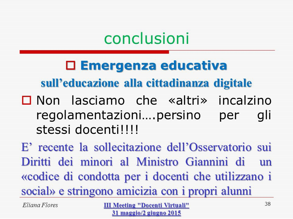 conclusioni Emergenza educativa