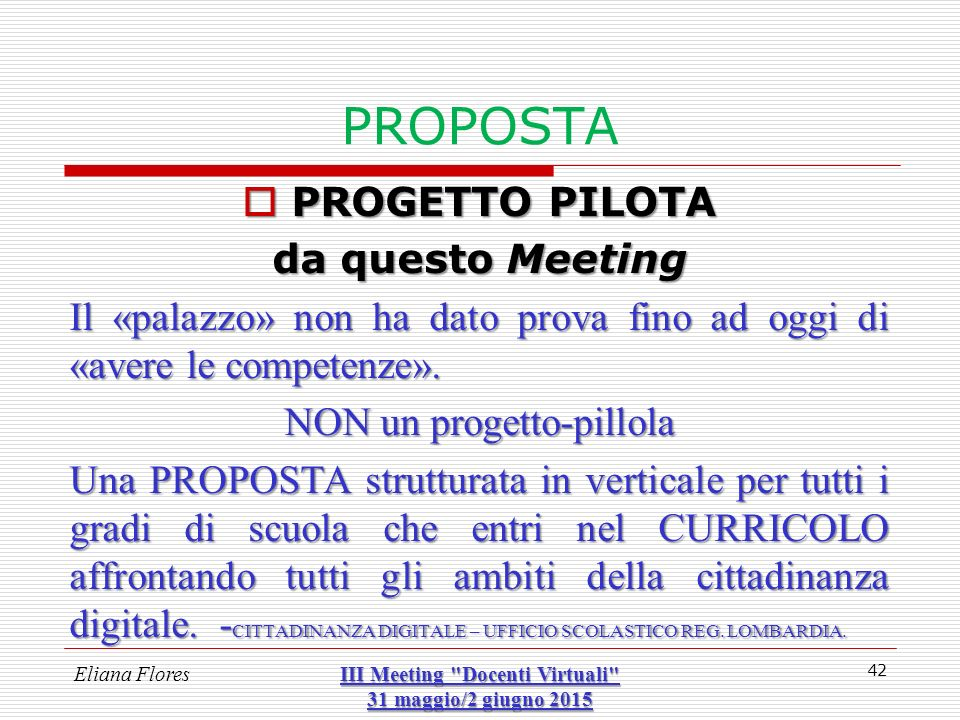 III Meeting Docenti Virtuali 31 maggio/2 giugno 2015
