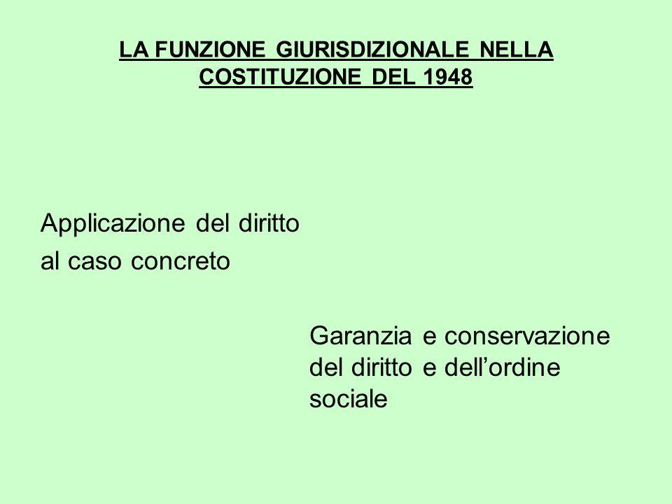 LA FUNZIONE GIURISDIZIONALE NELLA COSTITUZIONE DEL 1948