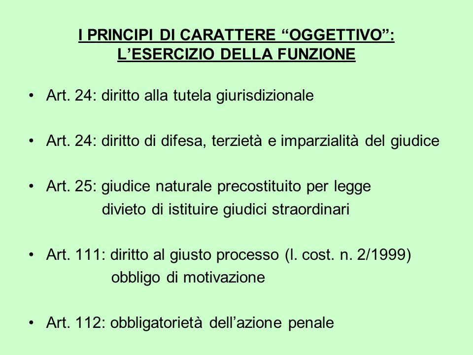 I PRINCIPI DI CARATTERE OGGETTIVO : L'ESERCIZIO DELLA FUNZIONE