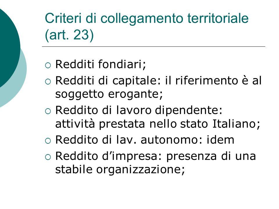 Criteri di collegamento territoriale (art. 23)