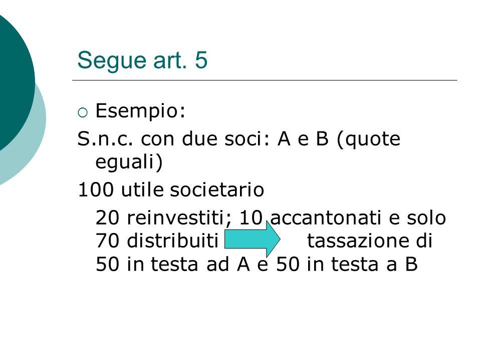 Segue art. 5 Esempio: S.n.c. con due soci: A e B (quote eguali)