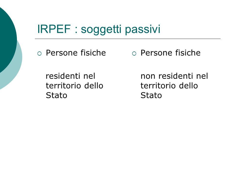 IRPEF : soggetti passivi