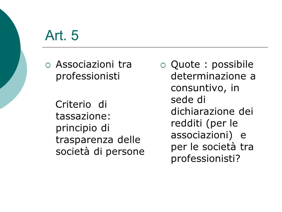 Art. 5 Associazioni tra professionisti