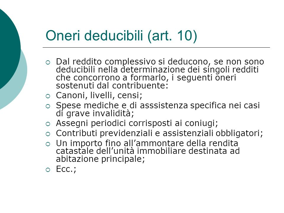 Oneri deducibili (art. 10)