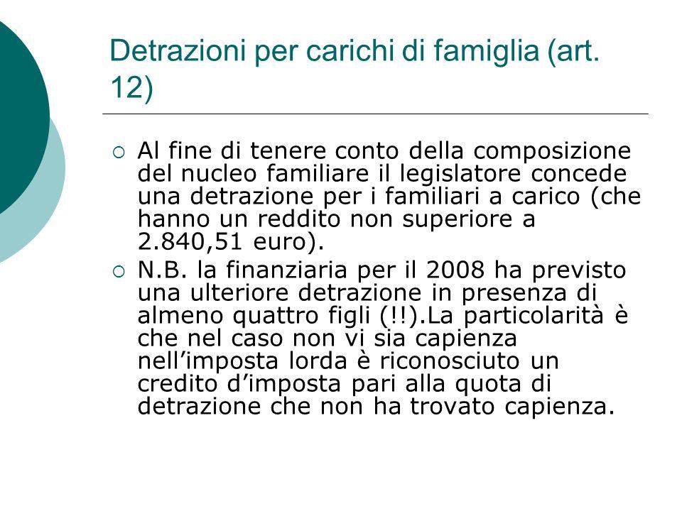 Detrazioni per carichi di famiglia (art. 12)