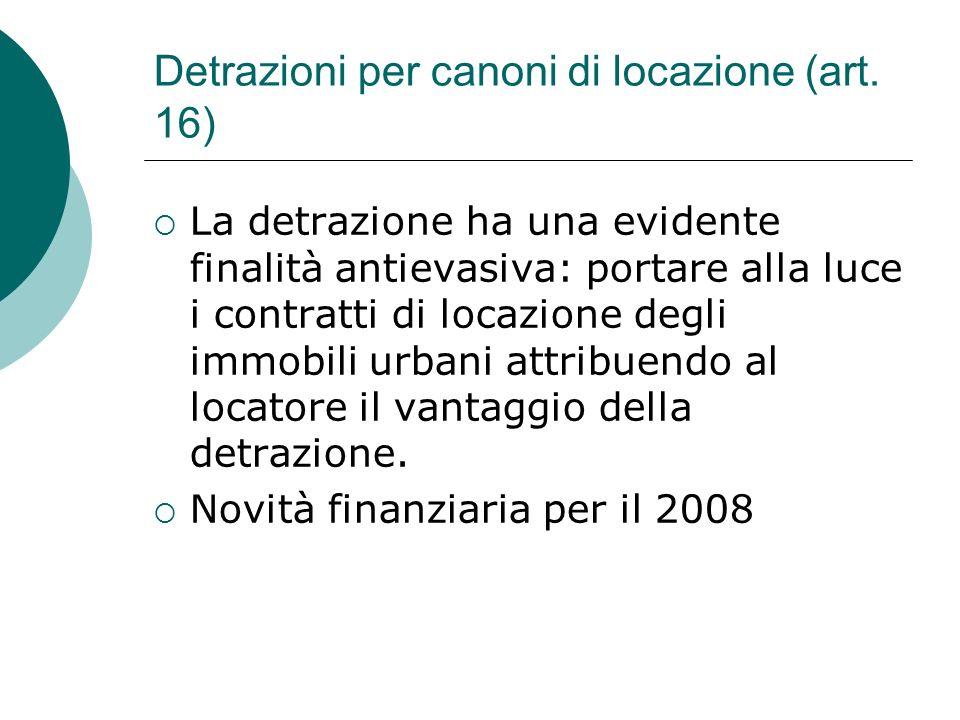 Detrazioni per canoni di locazione (art. 16)