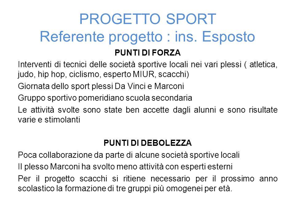 PROGETTO SPORT Referente progetto : ins. Esposto