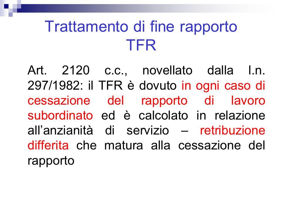 Trattamento di fine rapporto TFR