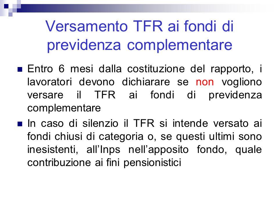 Versamento TFR ai fondi di previdenza complementare