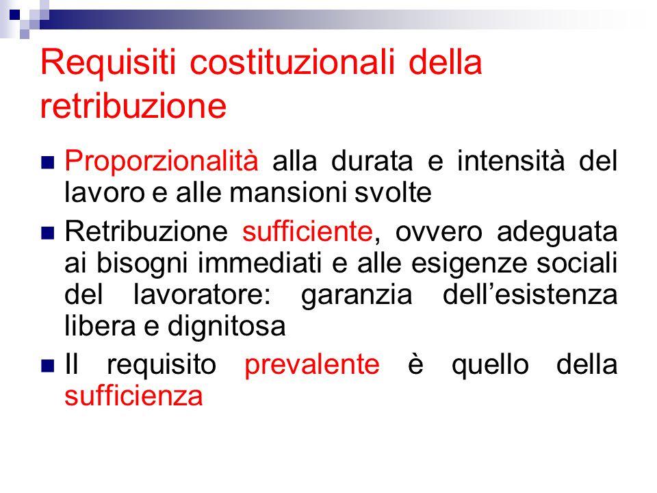 Requisiti costituzionali della retribuzione