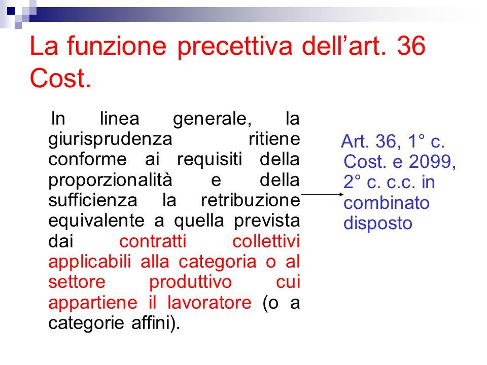 La funzione precettiva dell'art. 36 Cost.