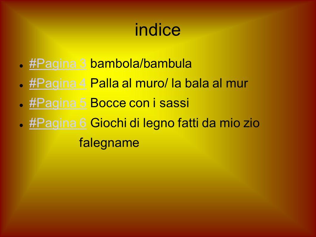 indice #Pagina 3 bambola/bambula