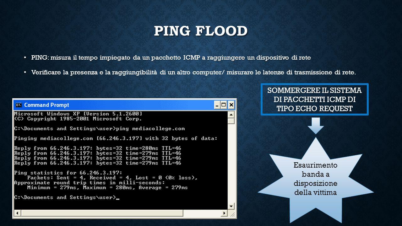 PING FLOOD PING: misura il tempo impiegato da un pacchetto ICMP a raggiungere un dispositivo di rete.