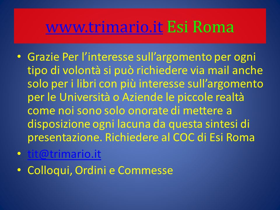 www.trimario.it Esi Roma
