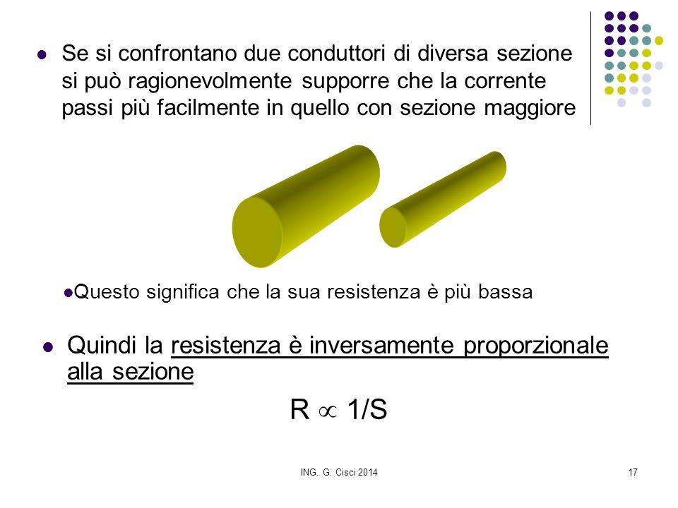 R  1/S Quindi la resistenza è inversamente proporzionale alla sezione