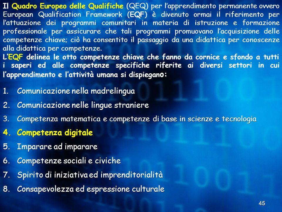 Comunicazione nella madrelingua Comunicazione nelle lingue straniere