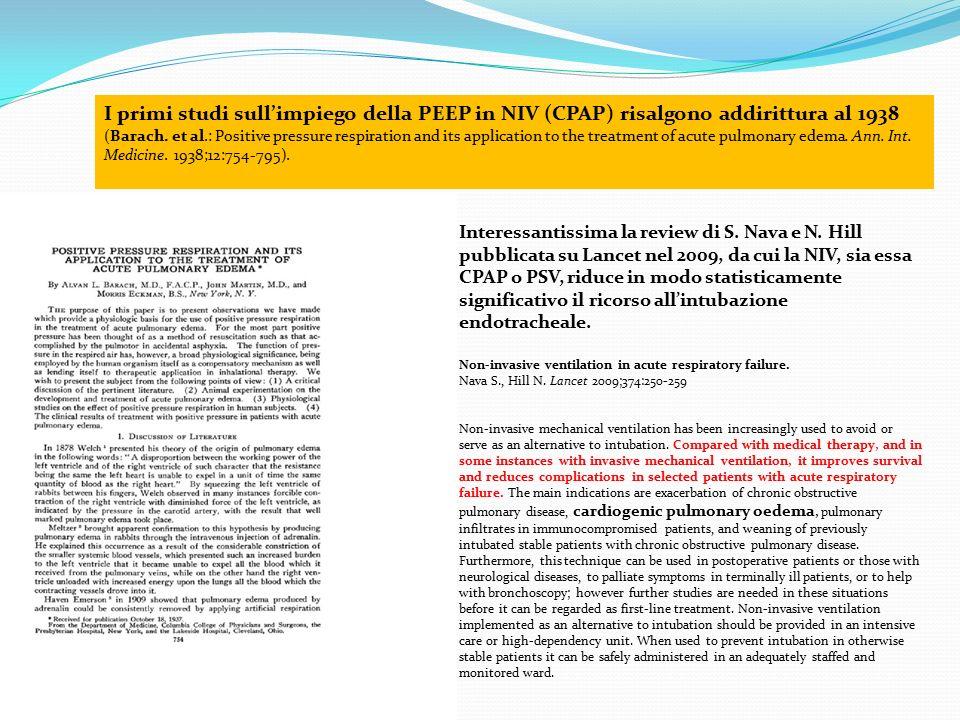 I primi studi sull'impiego della PEEP in NIV (CPAP) risalgono addirittura al 1938 (Barach. et al.: Positive pressure respiration and its application to the treatment of acute pulmonary edema. Ann. Int. Medicine. 1938;12:754-795).