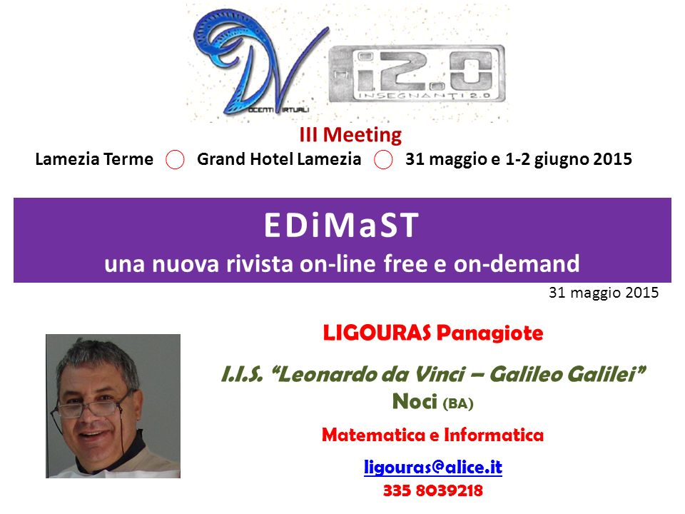 EDiMaST una nuova rivista on-line free e on-demand III Meeting