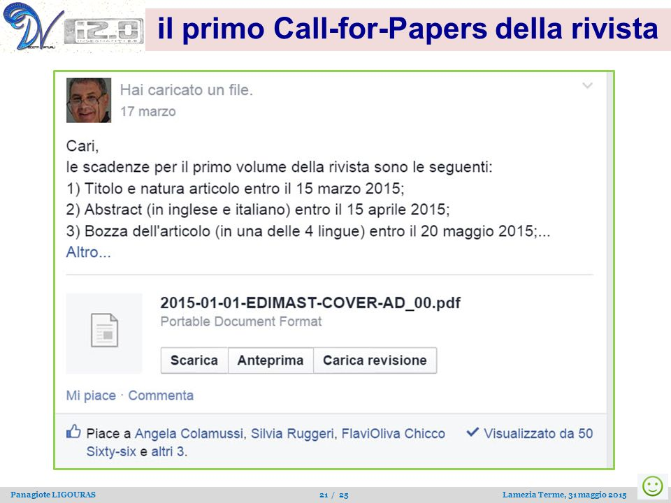 il primo Call-for-Papers della rivista