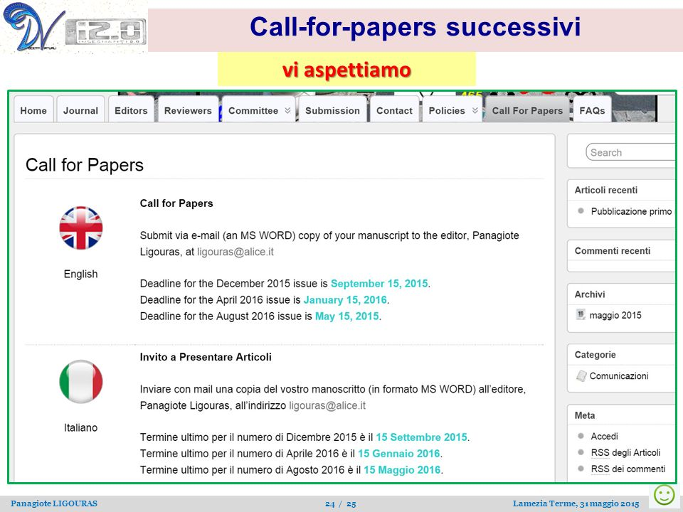 Call-for-papers successivi