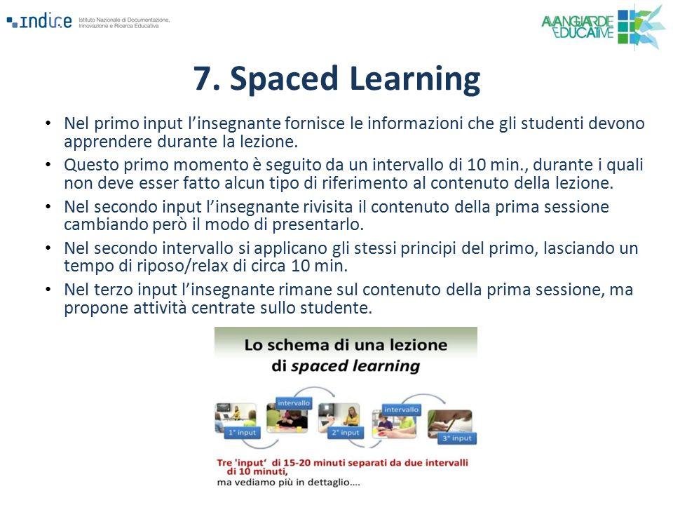 7. Spaced Learning Nel primo input l'insegnante fornisce le informazioni che gli studenti devono apprendere durante la lezione.