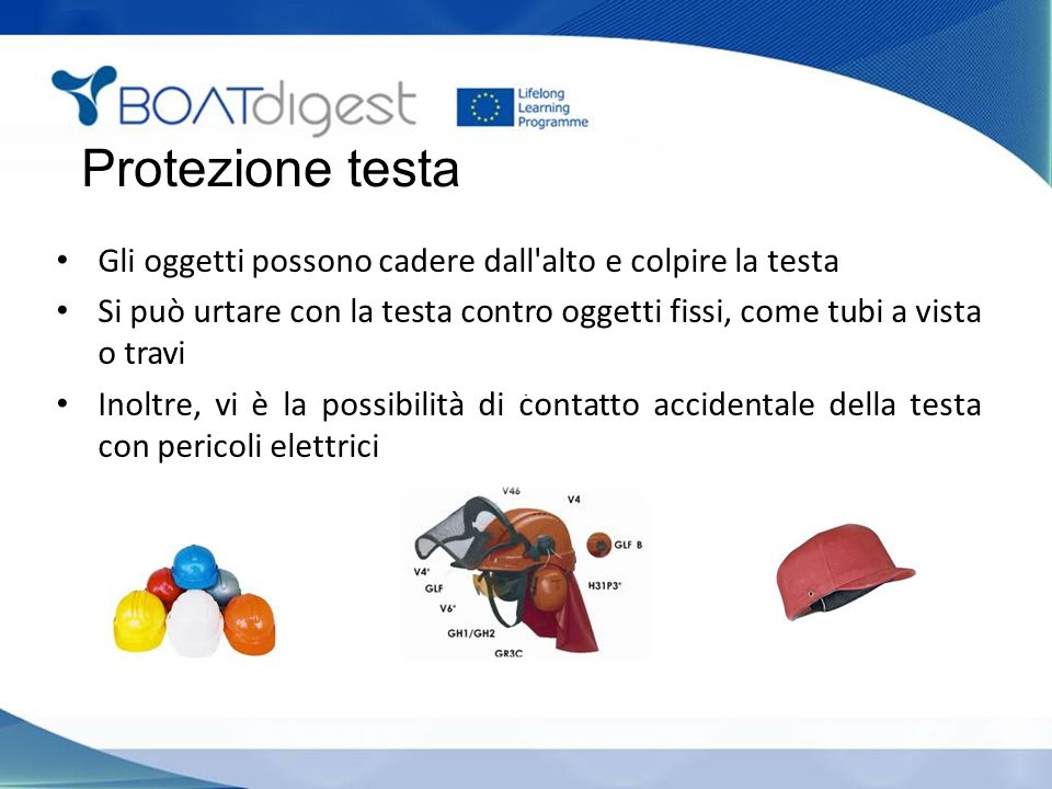 Protezione testa Gli oggetti possono cadere dall alto e colpire la testa. Si può urtare con la testa contro oggetti fissi, come tubi a vista o travi.