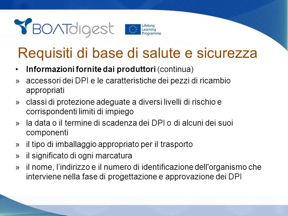 Requisiti di base di salute e sicurezza