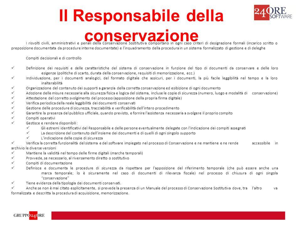 Il Responsabile della conservazione