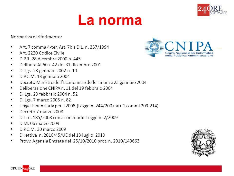 La norma Normativa di riferimento: