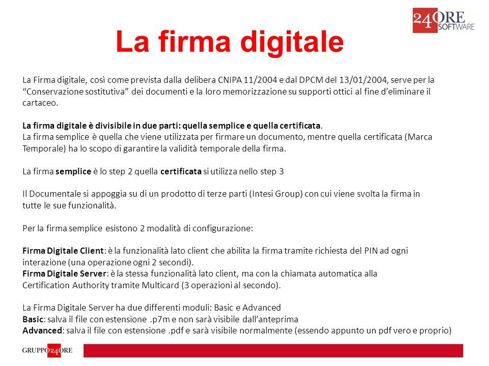 La firma digitale La Firma digitale, così come prevista dalla delibera CNIPA 11/2004 e dal DPCM del 13/01/2004, serve per la.