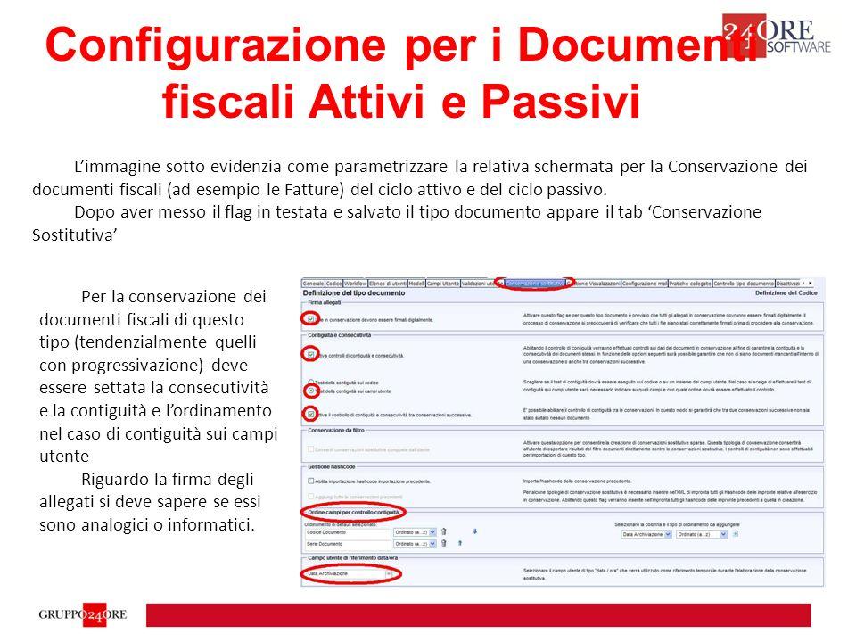Configurazione per i Documenti fiscali Attivi e Passivi