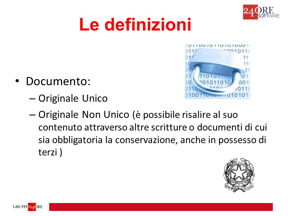 Le definizioni Documento: Originale Unico