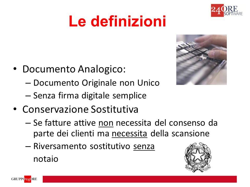 Le definizioni Documento Analogico: Conservazione Sostitutiva